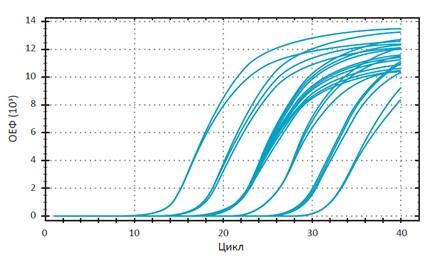 Рис.68. Зависимость относительного уровня флуоресценции от цикла ПЦР