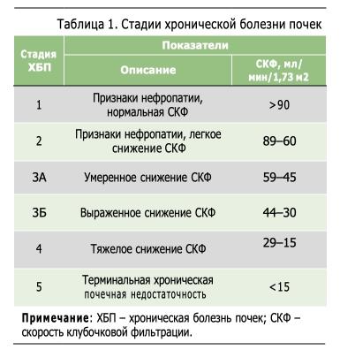 ХБП – хроническая болезнь почек; СКФ – скорость клубочковой фильтрации